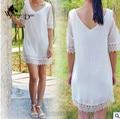 WomensDate 2017 das Mulheres do Verão Solto Tamanho Grande Camisa Blusa de Renda Chiffon Camisa Do Laço Branco Sem Alças