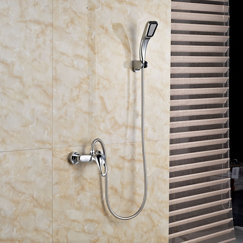 Wholesale and Retail Shower Faucet Brass Material Hand Shower Chrome Finish Wall Mount wholesale and retail modern chrome finish 8 inch shower faucet set rain shower head w hand shower wall mount