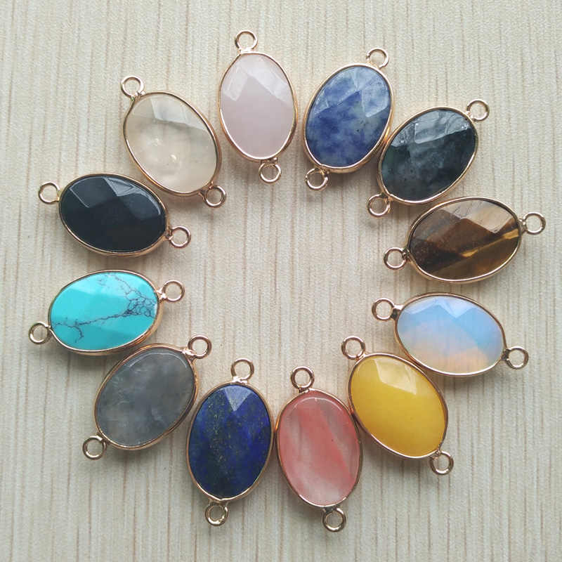 2018 hot selling natural druzy crystal quartz stone mixed pendants Connector for diy  jewelry making 12pcs/lot Wholesale free