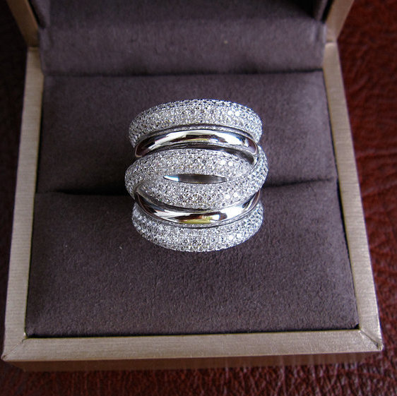 Women Ring,Hot Sell AAA Cubic Zirconia Micro Pave Setting Multi-layered Full Finger Ring,R7963