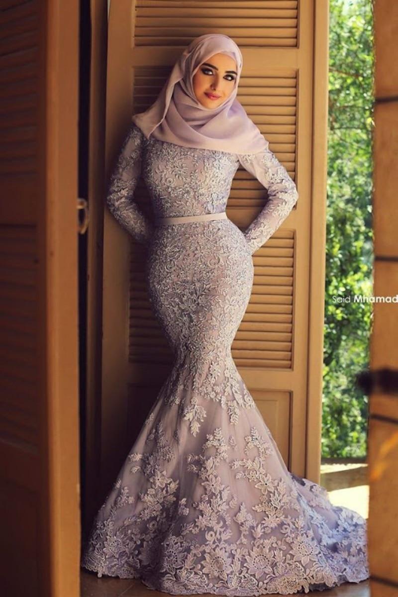 Verbazingwekkend Elegante lange mouwen moslim avondjurk arabisch jurken mermaid SL-63