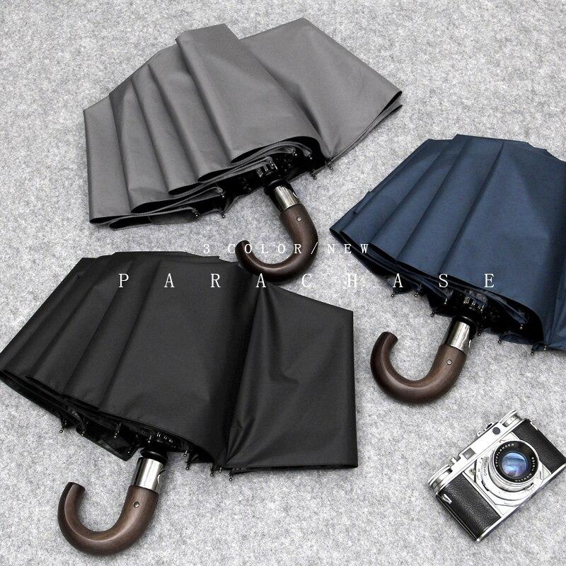 Hommes/femmes entièrement automatique triple parapluie pliant 10 os noir pluie parapluie entièrement lumière preuve parasol crochet soleil parapluie