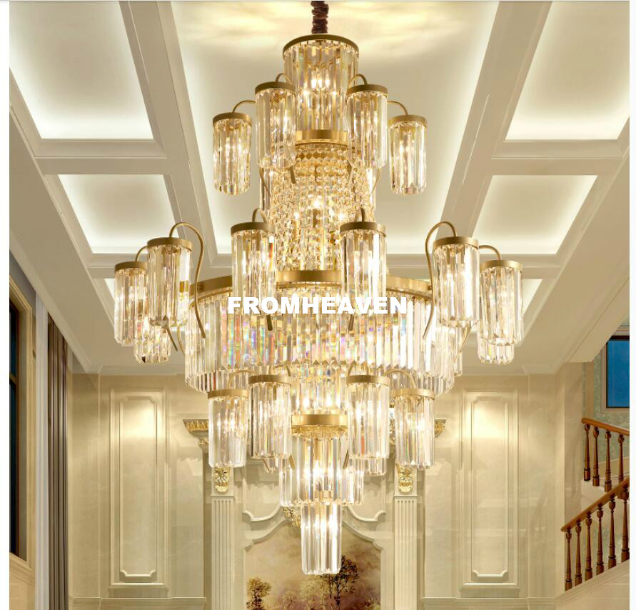 Modern Crystal Chandeliers Lights Fixture Luxury American Golden Color Crystal Pendant Hotel Lobby Parlor Home Indoor Lighting