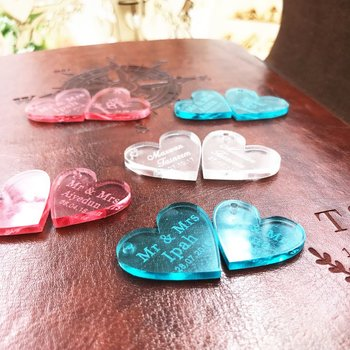 100pcsPersonalized mr mrs Love crystal Heart Wedding souvenirs Table Decoration Centerpieces Favors & Gifts Custom crystal Heart