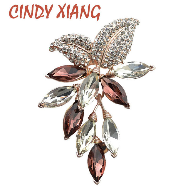 CINDY XIANG Big Crystal Flower Large Brooch Grape Pins and Brooches Wedding Jewe