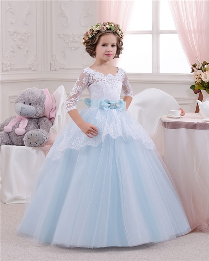 Pretty Half Sleeve Ball Gown Lace Appliques Beading Bowknot Princess Pageant   Flower     Girl     Dresses