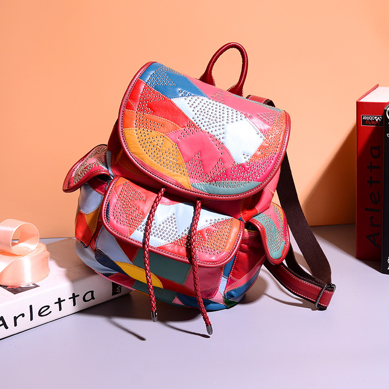 Ellacey 2018 Rivets Genuine Leather Backpack Multicolor Patchwork Women Backpack School Fashion Sheepskin Backpack Female рюкзак sprayground pixel shark backpack b188 multicolor