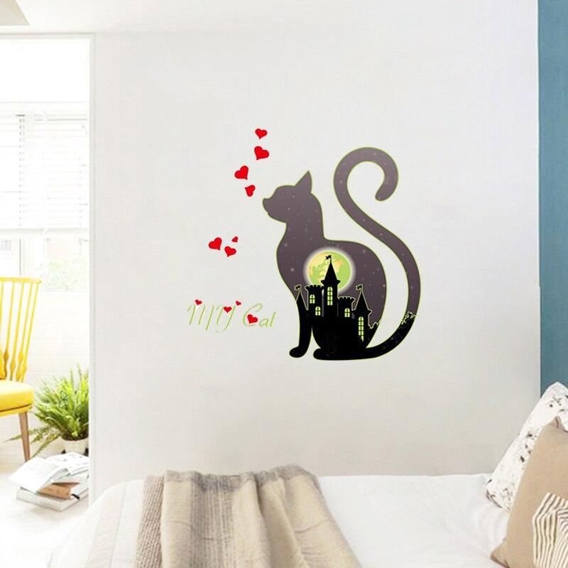 cute luminous cat heart city wall stickers for kids rooms night light fluorescent decor cartoon animal wall decals pvc mural art