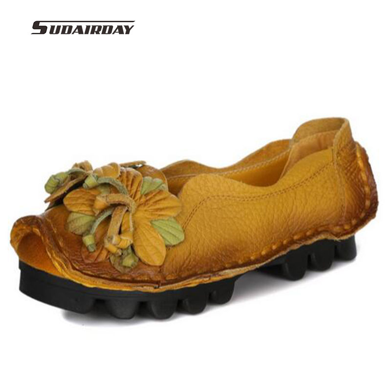 loafers font b women b font Super Soft Genuine Leather Flats Anti Slippy Flowers Bright Color