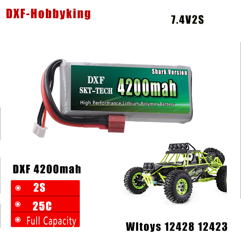DXF Shark Version Good Quality Rc Lipo Battery 7.4V 4200mah 2S 25C Max50C for Wltoys 12428 12423 1:12 RC Car Spare parts 7 4v 2000mah battery for wltoys 12428 12423 l202 k959 rc car spare parts upgrade accessories free shipping