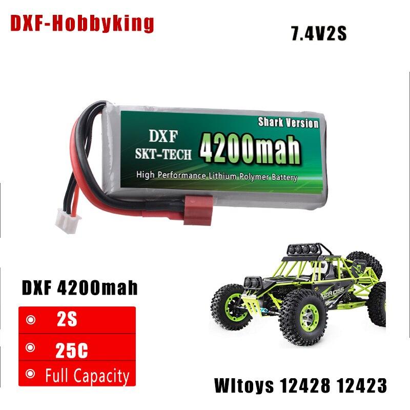 DXF Shark Versione di Buona Qualità Della Batteria di Rc Lipo 7.4 v 4200 mah 2 s 25C Max50C per Wltoys 12428 12423 1:12 RC Auto ricambi