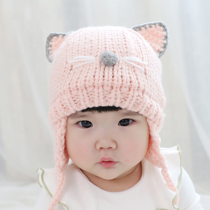 9bdb57fb8ca Cute Cat Ear Baby Hat Baby Boy Girl Knitting Wool Beanie Winter Warm Cap  Hats for Toddler Kids Bonnet