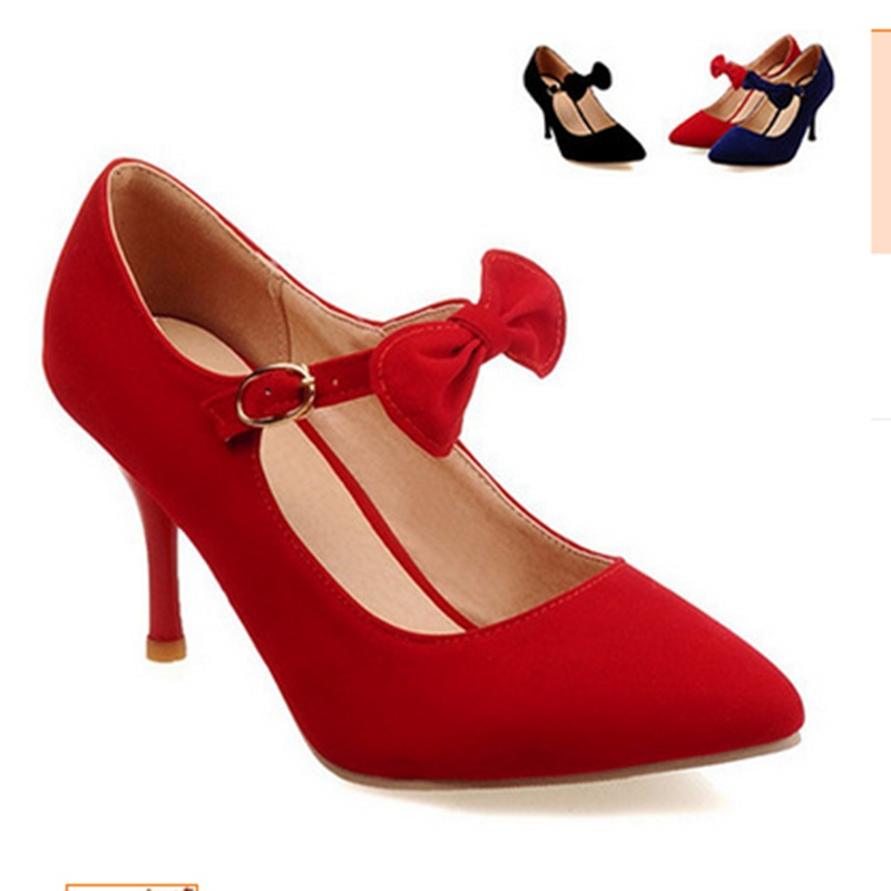Female High quality Bow Buckle strap Plus size 35-47Suede Pointed toe High heels Women Shoes Ankle Single Party Wedding Footwear female high quality sweet bow knot plus size 35 44 round toe women shoes on flats casual footwear matching shoes and bags italy