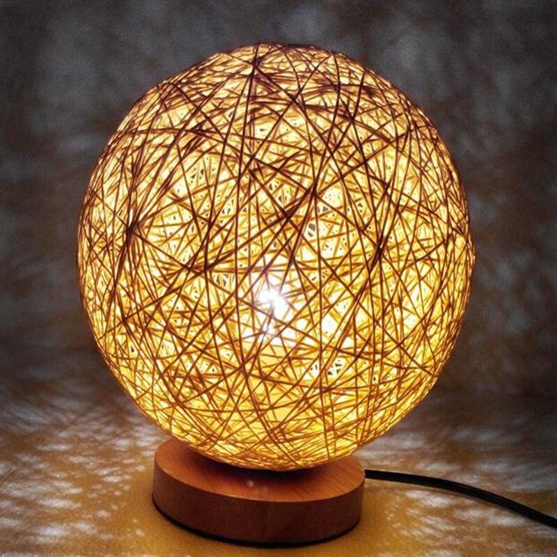 220 V Wicker Rattan Ball Schreibtisch Tischlampe Durchmesser 15 Cm Takraw Nachtlicht Fr Schlafzimmer Wohnzimmer Eu