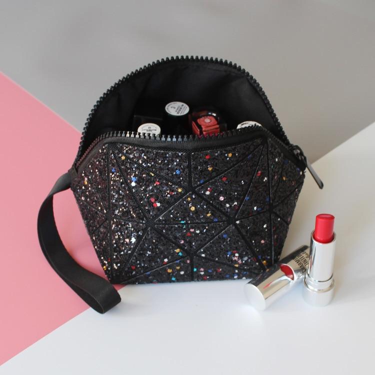 geometric semi circle cosmetic bag for women toiletry bag fashional makeup bag diansi brand bag pair of stylish rhinestone semi circle earrings for women