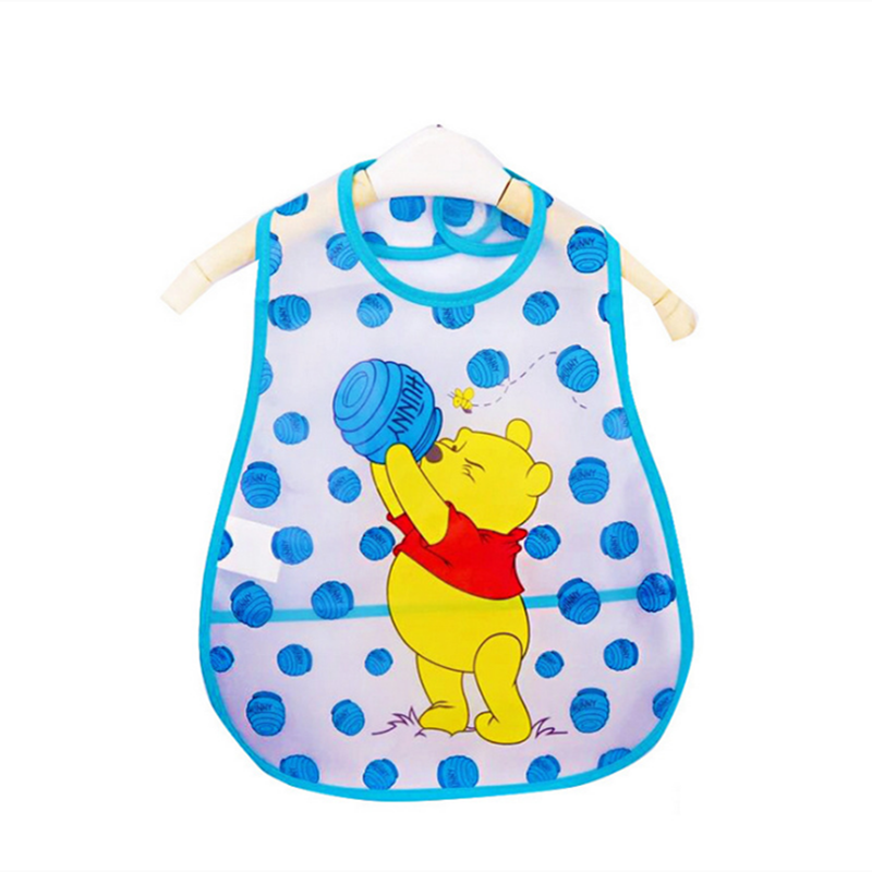 Adjustable Baby Bibs EVA Plastic Waterproof Lunch Feeding Bibs Baby Cartoon Feeding Cloth Children Baby Apron Babador de bebe