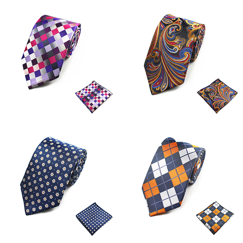 New Arrivel 8cm Tie Men Hanky Handkerchief And Necktie Silk Tie Set Man Corbatas Hombre Floral Plaid Wedding Tie Cravate Homme