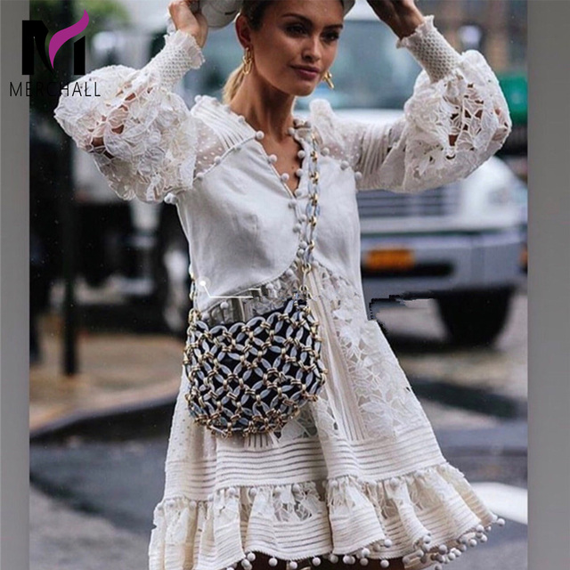 2f6e0697ab8ea US $31.88 40% OFF|Aliexpress.com : Buy Brand Women Elegant Embroidery Lace  Hollow Out White Dress Party Christmas Ladies Sexy V Neck Lantern Sleeve ...