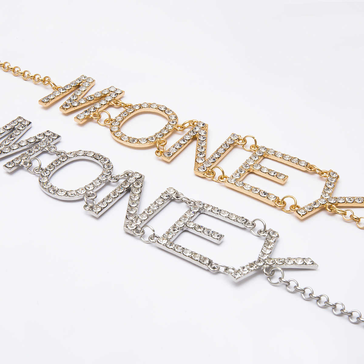 IngeSight.Z Retro Gold Color Multi Layered Crystal Letter MONEY Pendant Body Chain Women Harness Waist Belly Chain Belt Jewelry