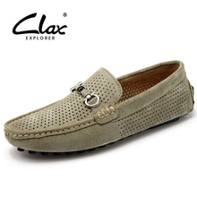 Clax Men's Summer Shoes 2017 Designer Flats Loafers for Male Hollow Breathable Suede Leather Casual Shoe Moccasin Boat Footwear