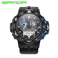 2017 SANDA Mens Watches Top Brand Luxury Sport Watch Men Digital Analog Multifunctional Alarm Military Watches