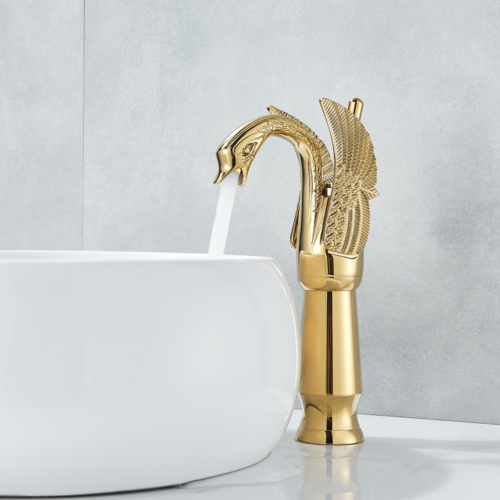 Basin Faucets New Design Swan Faucet Gold/Black Plated Wash Basin Faucet Hotel Luxury Copper Gold Mixer Taps hot and cold Taps gold color swan design hot