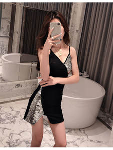 2019 new fashion sexy stitching sequins v-neck waist slim strap dress