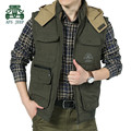 AFS JEEP 2015 Autumn New Design Men's 100% Cotton Double Side Detachable Hooded Vest,Khaki,Army Green Thick Wear Resistant Vest