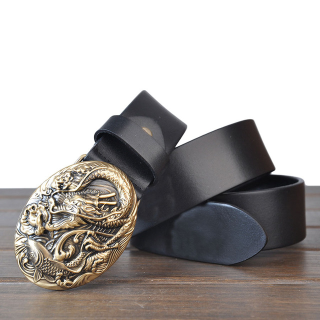 Fashion Luxury Dragon & Fish Smooth Buckle Leather Belt Men Designer Belts Men High Quality Top Qualtiy Men's Belts Luxury