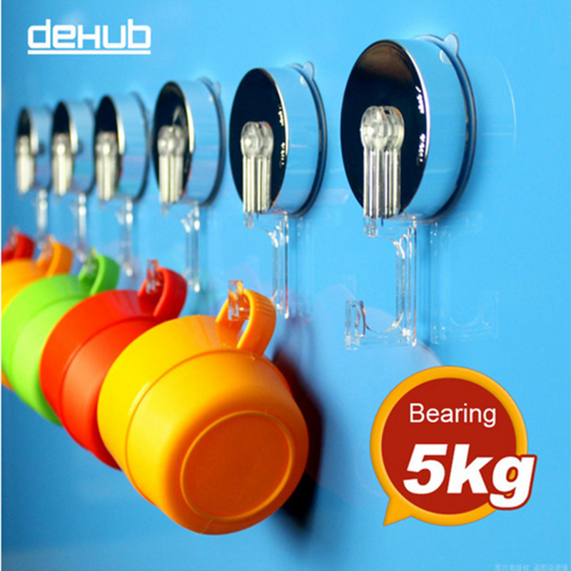 Suction hooks super suction vacumm sucker key hook wall hook hangers crystal kitchen hooks colorful 2 pieces per lot in Hooks Rails from Home Garden