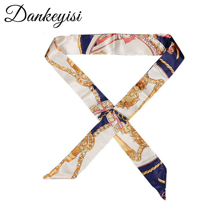 DANKEYISI New Skinny Neck Women   Scarf   Floral Print Women Silk   Scarf   Small Handle Bag Ribbon Female Head   Scarves     Wraps   For Ladies