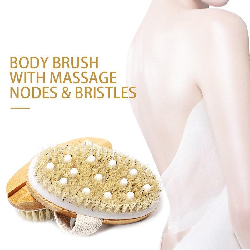 Wooden Hand Grip SPA Bath Brush Exfoliating Bath & Shower Skin Care Body Scrub Bristles Brushes Stimulates Blood Circulation