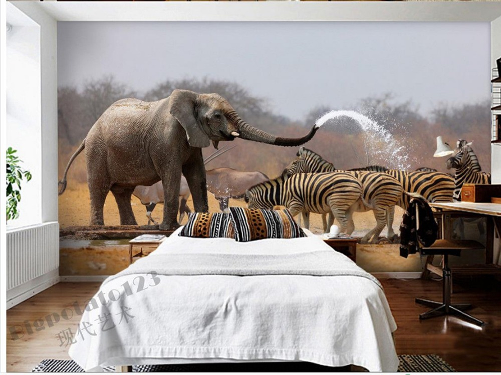 3d Wallpaper Cute Baby Home Decoration Cute Wild Elephant Zebra Bath Animals Tv