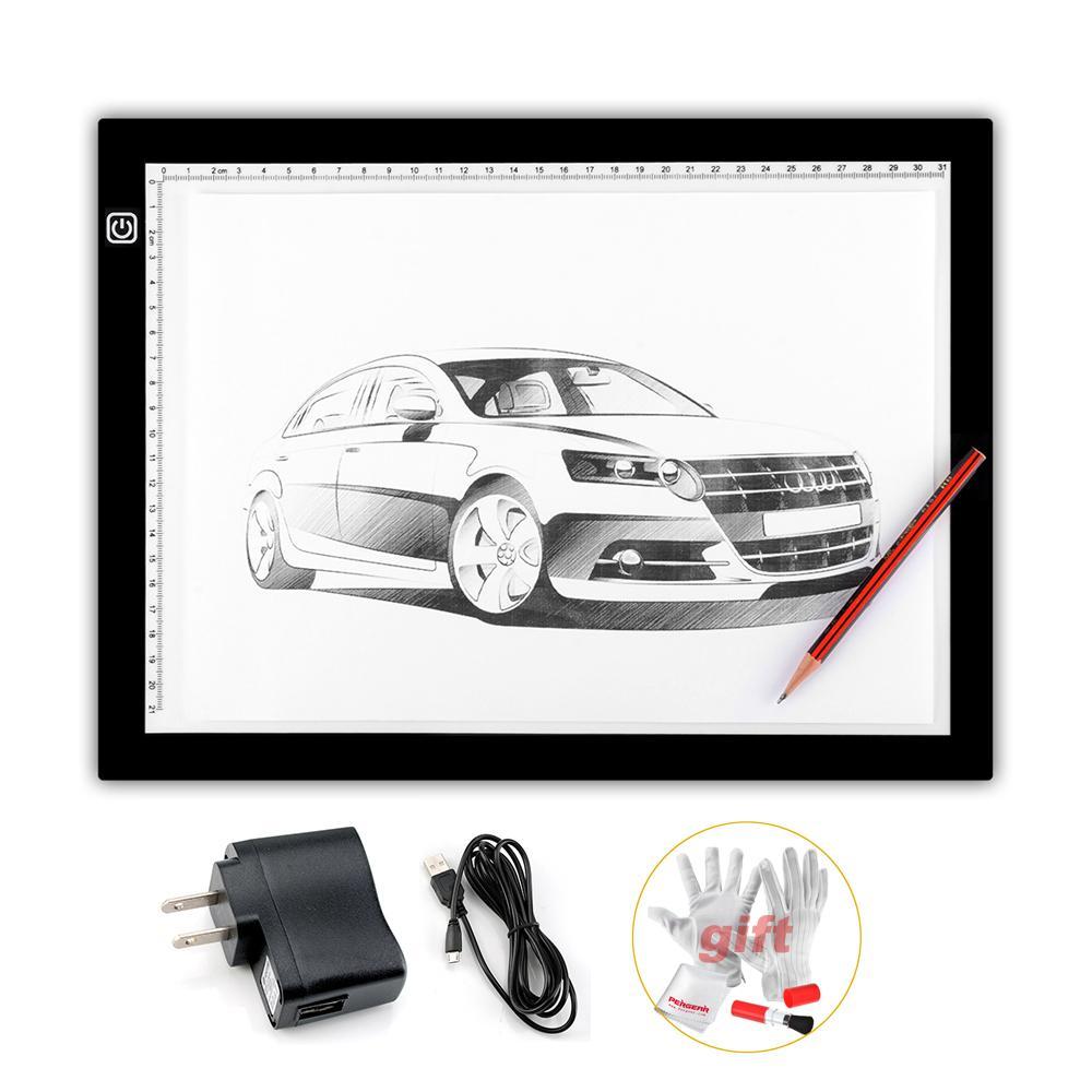2015 Nuevo Parblo A4 Led Light Pad Copia de seguimiento Borad Slim A4S Graphic Led Light Pad + 3 en 1 kit de limpieza (regalo)
