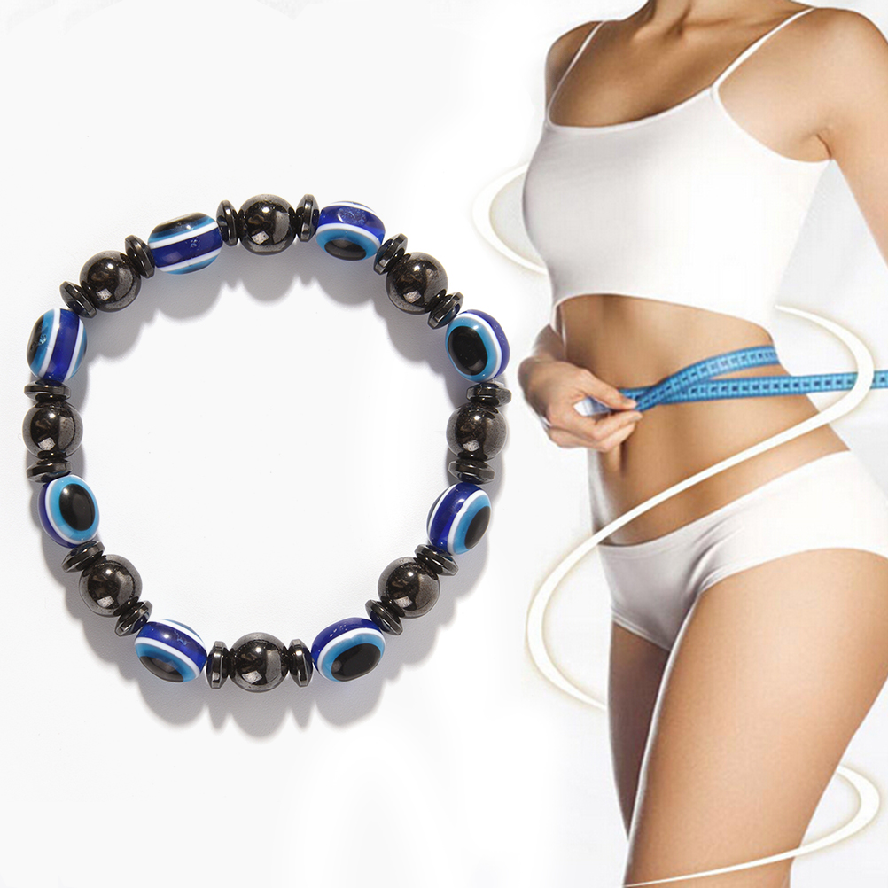 1Pc 2018 Fashion Weight Loss Round Black and Blue Stone Magnetic Therapy Bracelet Health Care Luxury Slimming Product