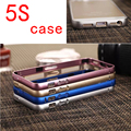 Cases for iPhone 5 5s 0.7mm ultra luxury Cover aluminum + acrylic accessories the border glass on the for iPhone 5s Cases