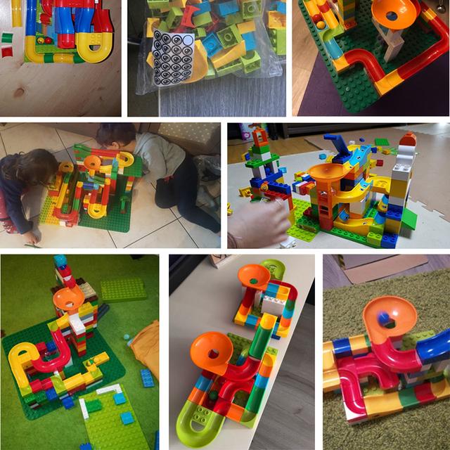 296 PCS Big Size Block Marble Race Run Maze Ball Track Building Blocks ABS Funnel Slide Blocks Toys For Children Kids GIft