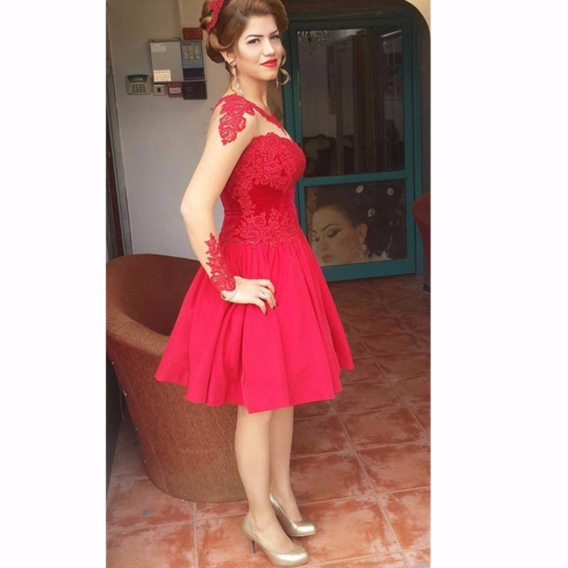 Robe De Soiree Red Colour Short Prom Dresses Long Sleeves Cheap ...