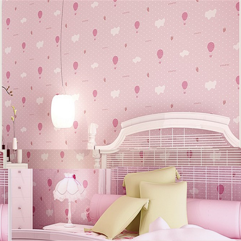 Us 450 Beibehang Non Woven Breathable Wallpaper Warm Childrens Bedroom Bedroom Wallpaper Cute Pink Strawberry Parachute In Wallpapers From Home