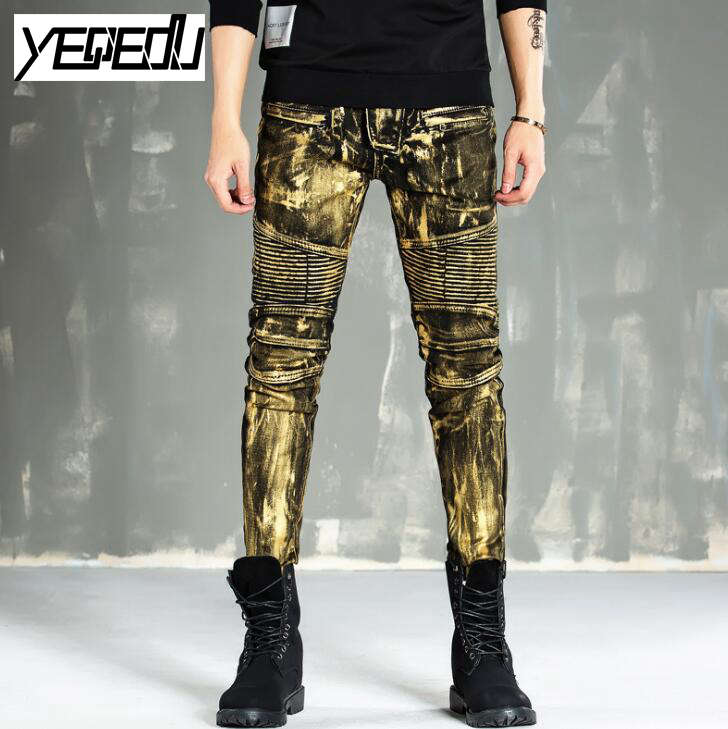1401 2017 Pleated Mens printed jeans Straight Gold Sliver Skinny Mens biker jeans Skinny jeans