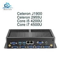 Безвентиляторный мини ПК Двойной Gigabit Ethernet LAN 6 * COM Порты мини компьютер Core i5 4200U i7 5500U Celeron J1900 2955U Промышленные ПК