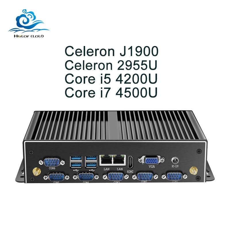 Fanless Mini PC Dual Gigabit Ethernet LAN 6*COM Ports Mini Computer Core i5  4200U i7 5500U Celeron
