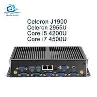 Mini Pc Fanless Mini Pc Dual Gigabit Ethernet Lan 6 * Com Porte Mini Computer Core I5 4200U I7 5500U Celeron J1900 2955U Pc Industriale