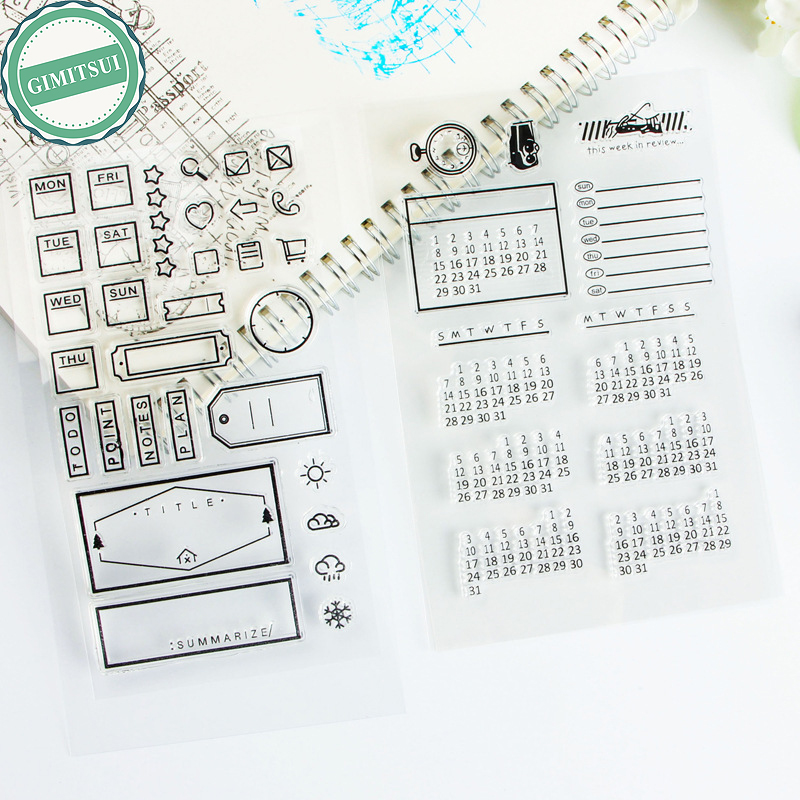 Calendar Sheet Rubber : Office icon label silicone stamp seal sheet time calendar