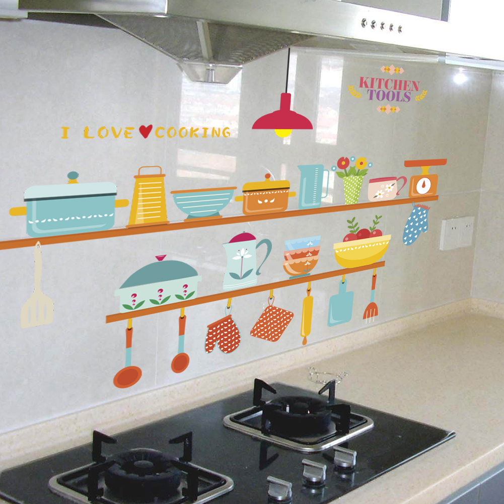 colorful kitchen tools wall stickers for kids rooms decals home ...