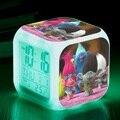 Trolls Película luz LED Despertadores Trolls Figuras Trolls de Amapola Figuras PVC Figuras Doll Juguete Trolls Rama Biggie Iluminan juguetes