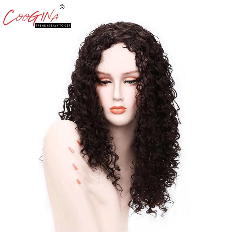 Coogina коричневый Цвет длинные вьющиеся парик парики из синтетических волос высокого Температура волокно Для женщин парик 300 г 26 inchs