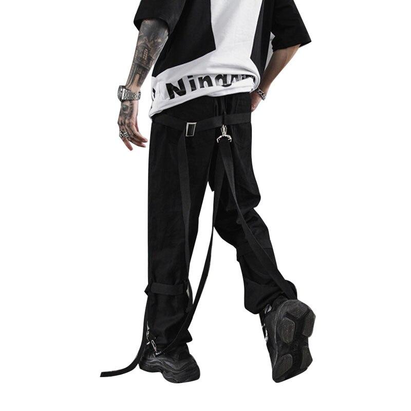 Jogger Sweatpants Ribbons Harem High-Street-Trousers Punk Casual Hip-Hop Men