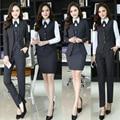 plus size 4XL women Striped Blazer Pants Suits Office Women Work Wear 2016 winter Blazer+pants+skirts+vest+blouse