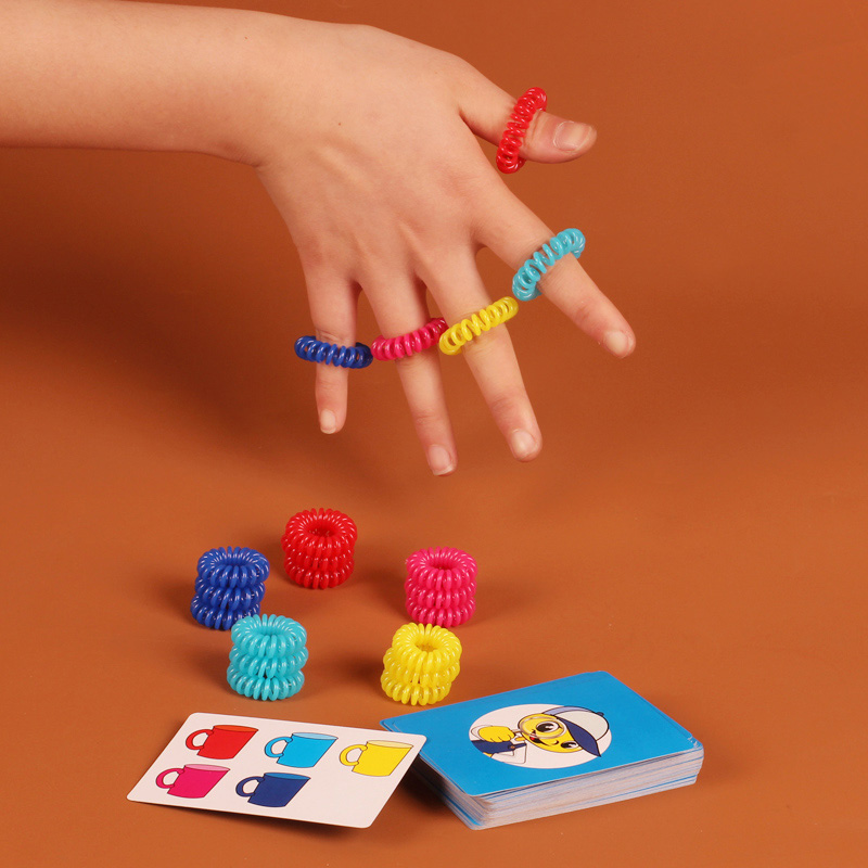 Rings Up Board Game 5 Colors Rings Funny Puzzle Game Hand With Eyes Response Capacity Game For Children/Friends  Free Shipping